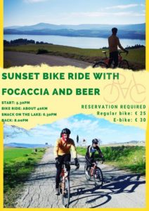 Cycling tour San Giuliano Lake Focaccia and beer